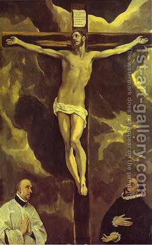 Christ On The Cross Adored By Two Donors 1585-1590 by El Greco - Reproduction Oil Painting