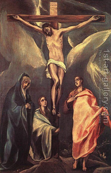 Christ On The Cross With The Two Maries And St John 1588 by El Greco - Reproduction Oil Painting