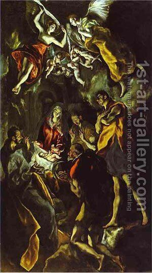 The Adoration Of The Shepherds 1605 by El Greco - Reproduction Oil Painting