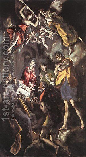 The Adoration Of The Shepherds C 1614 by El Greco - Reproduction Oil Painting