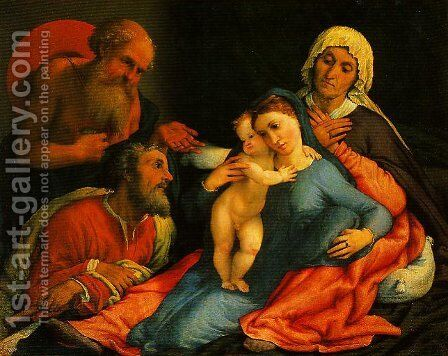 Madonna and Child with SS Jerome Joseph and Anne by Johann-Nepomuk Ender - Reproduction Oil Painting