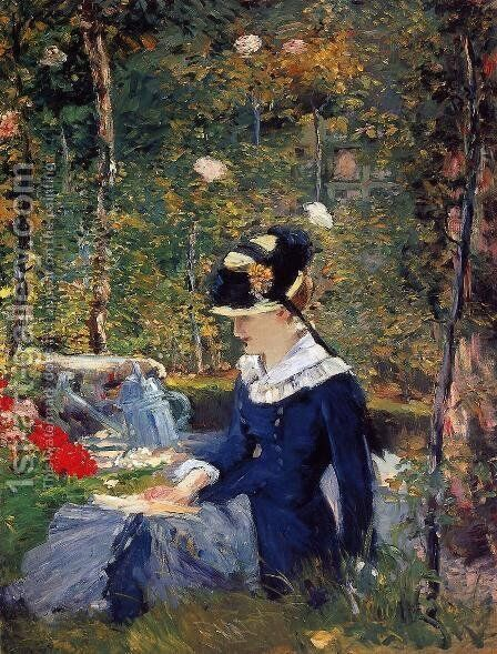 Young Woman in the Garden 1880 by Edouard Manet - Reproduction Oil Painting