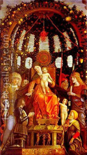 Virgin And Child Surrounded By Six Saints And Gianfrancesco Li Gonzaga Known As The Madonna Of Victory 1495 by Andrea Mantegna - Reproduction Oil Painting