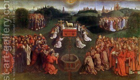 The Adoration of the Mystic Lamb lower half of central panel by Hubert van Eyck - Reproduction Oil Painting
