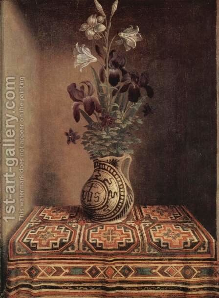 Still Life With A Jug With Flowers The Reverse Side Of The Portrait Of A Praying Man 1480-1485 by Hans Memling - Reproduction Oil Painting
