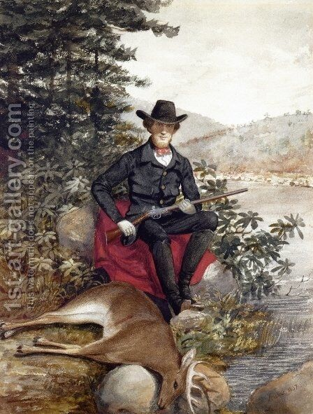 The Hunter A Self Portrait by Alvan Fisher - Reproduction Oil Painting