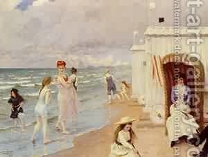 A Day At The Beach by T. Paul Fisher - Reproduction Oil Painting