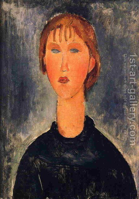 Bust Length Portrait of Blonde Girl 1919 by Amedeo Modigliani - Reproduction Oil Painting