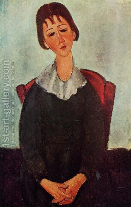 Girl on a Chair (aka Mademoiselle Huguette) 1918 by Amedeo Modigliani - Reproduction Oil Painting