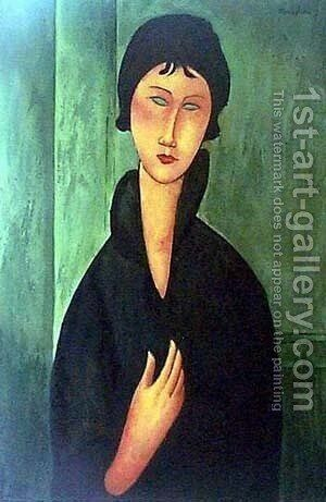 Woman with Blue Eyes 2 by Amedeo Modigliani - Reproduction Oil Painting
