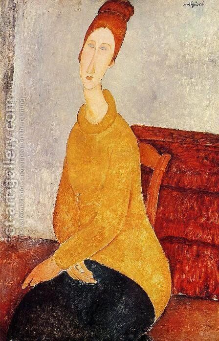 Yellow Sweater (aka Portrait of Jeanne Hebuterne) 1919 by Amedeo Modigliani - Reproduction Oil Painting