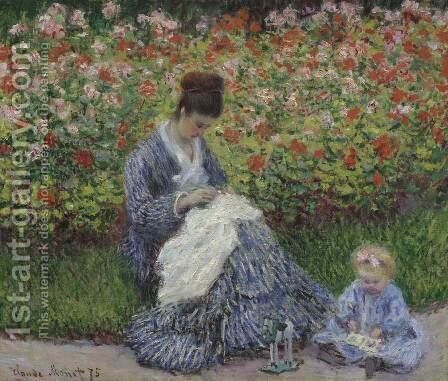 Camille Monet and a child in the artists garden in Argenteuil 1875 by Claude Oscar Monet - Reproduction Oil Painting