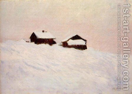Houses in the Snow 1895 by Claude Oscar Monet - Reproduction Oil Painting