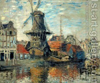 Le Moulin de lOnbekende Gracht, Amsterdam (The Windmill on the Onbekende Canal, Amsterdam) 1871 by Claude Oscar Monet - Reproduction Oil Painting