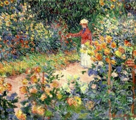 Monet's Garden at Giverny by Claude Oscar Monet - Reproduction Oil Painting