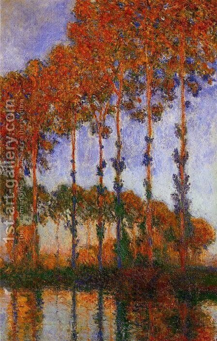 Poplars on the Banks of the River Epte Sunset 1891 by Claude Oscar Monet - Reproduction Oil Painting