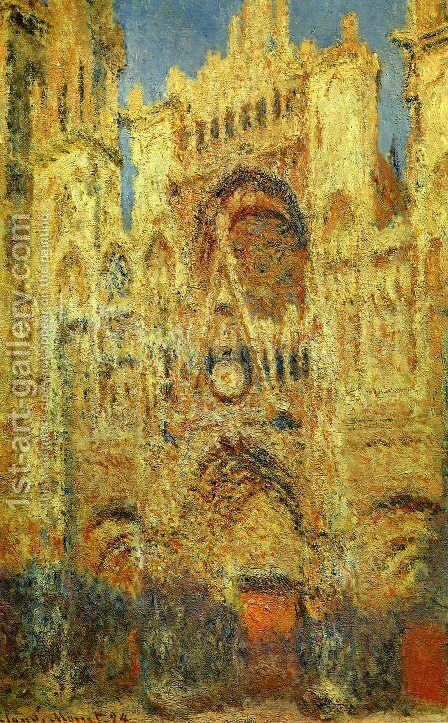 Rouen Cathedral at the End of Day Sunlight Effect 1892-1893 by Claude Oscar Monet - Reproduction Oil Painting