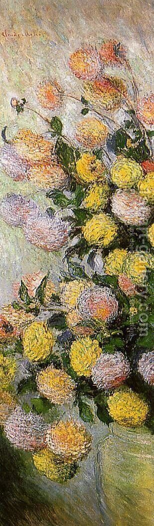 Vase of Dahlias 1883 by Claude Oscar Monet - Reproduction Oil Painting