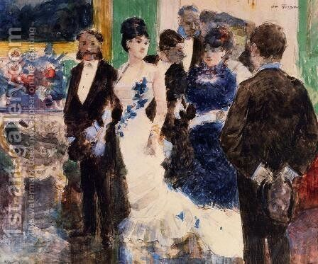 Parisian Soiree  1878 by Jean-Louis Forain - Reproduction Oil Painting