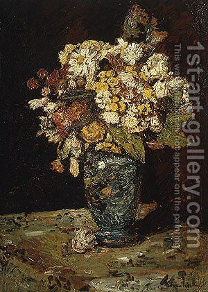 Flowers in a Blue Vase by Adolphe Joseph Thomas Monticelli - Reproduction Oil Painting