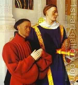 De Moulin Etienne Chevalier Presented By St Stephen 1450 by Jean Fouquet - Reproduction Oil Painting