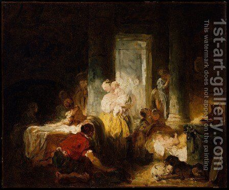 Italian Interior ca 1760 by Jean-Honore Fragonard - Reproduction Oil Painting