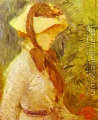 Young Woman With A Straw Hat 1884 by Berthe Morisot - Reproduction Oil Painting