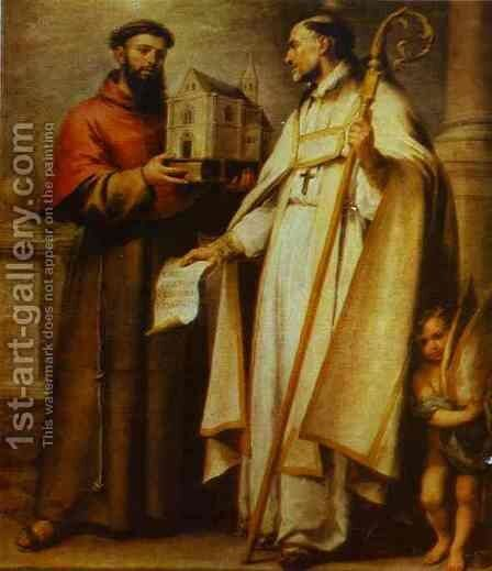 St Leander And St Bonaventura 1665-1666 by Bartolome Esteban Murillo - Reproduction Oil Painting