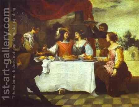 The Prodigal Son Feasting With Courtesans-1660s by Bartolome Esteban Murillo - Reproduction Oil Painting