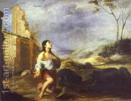 The Prodigal Son Feeding Swine 1660s by Bartolome Esteban Murillo - Reproduction Oil Painting