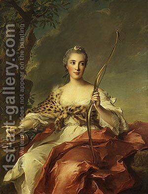 Madame de Maison Rouge as Diana 1756 by Jean-Marc Nattier - Reproduction Oil Painting