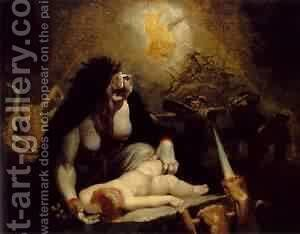 The Night Hag Visiting The Lapland Witches 1796 by Johann Heinrich Fussli - Reproduction Oil Painting