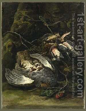 A Partridge and Small Game Birds 1650s by Jan Fyt - Reproduction Oil Painting