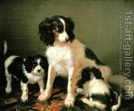 A spaniel with two puppies by Giuseppe Palizzi - Reproduction Oil Painting
