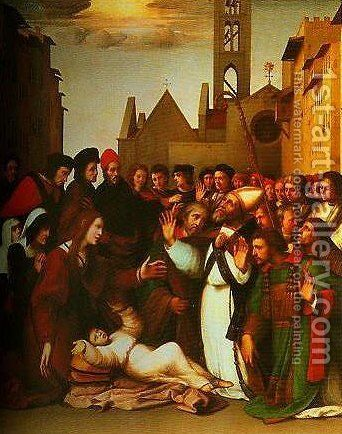 St Zenobius Raising a Boy from the Dead by Ridolfo Ghirlandaio - Reproduction Oil Painting