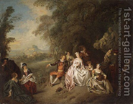 Concert Champre by Jean-Baptiste Joseph Pater - Reproduction Oil Painting