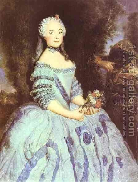 The Actress Babette Cochois 1750 by Antoine Pesne - Reproduction Oil Painting