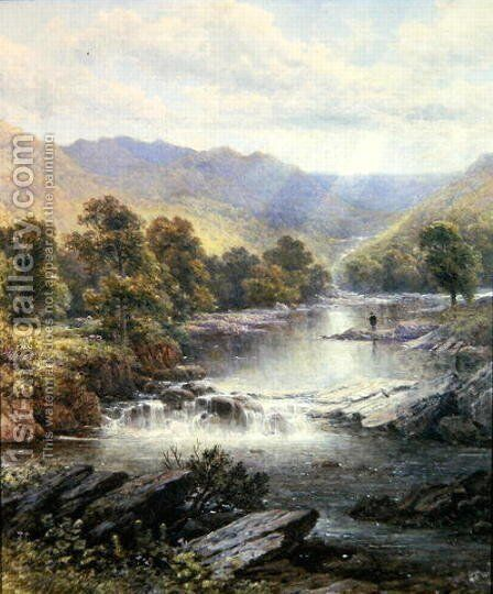 An Angler in a River Valley by Alfred Glendening - Reproduction Oil Painting