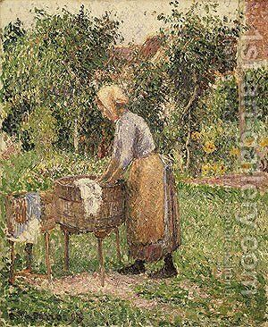 A Washerwoman at Eragny 1893 by Camille Pissarro - Reproduction Oil Painting