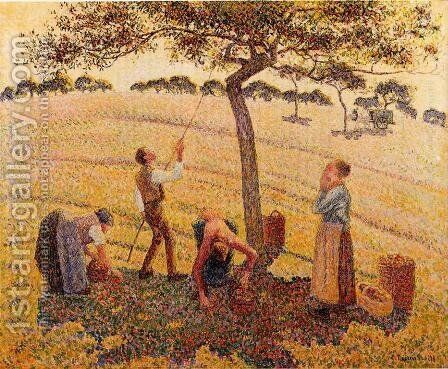 Apple Pickers Eragny 1888 by Camille Pissarro - Reproduction Oil Painting