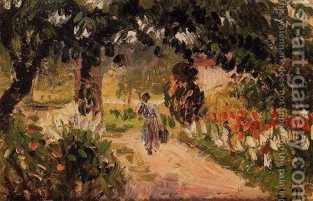 Garden at Eragny (study) 1899-1900 by Camille Pissarro - Reproduction Oil Painting