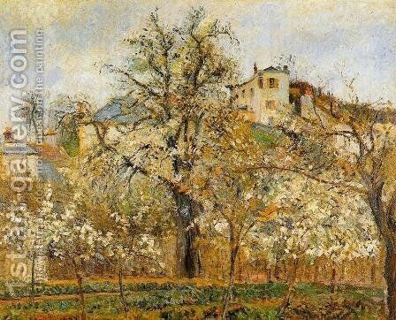 Kitchen Garden witih Trees in Flower Spring Pontoise  1877 by Camille Pissarro - Reproduction Oil Painting