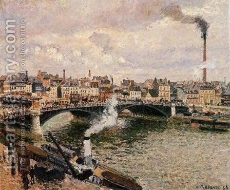 Morning Overcast Day Rouen  1896 by Camille Pissarro - Reproduction Oil Painting