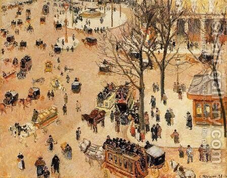 Place du Theatre Francais Spring  1898 by Camille Pissarro - Reproduction Oil Painting