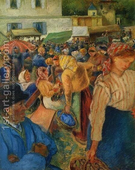 Poultry Market Pontoise 1892 by Camille Pissarro - Reproduction Oil Painting