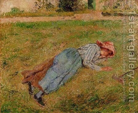 Resting Peasant Girl Lying on the Grass Pontoise  1882 by Camille Pissarro - Reproduction Oil Painting