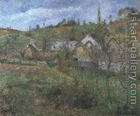 Thatched Cottages at Valhermeille  1880 by Camille Pissarro - Reproduction Oil Painting