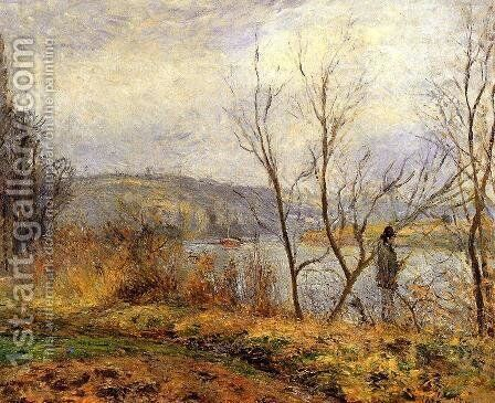 The Banks of the Oise Pontoise (aka Man Fishing)  1878 by Camille Pissarro - Reproduction Oil Painting
