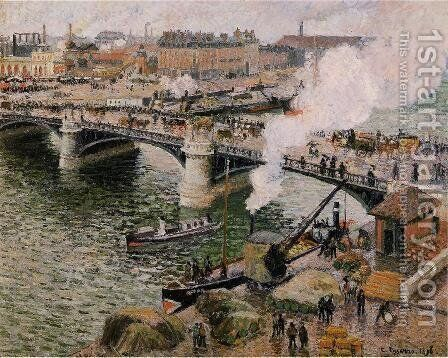 The Boieldiu Bridge rouen Damp Weather  1896 by Camille Pissarro - Reproduction Oil Painting