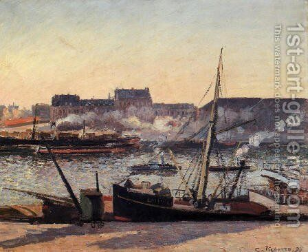 The Docks rouen Afternoon  1898 by Camille Pissarro - Reproduction Oil Painting